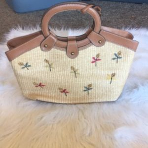 NWOT Fossil Wicker Floral Purse